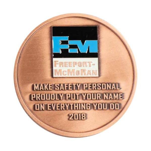 Copper safety enamel coin