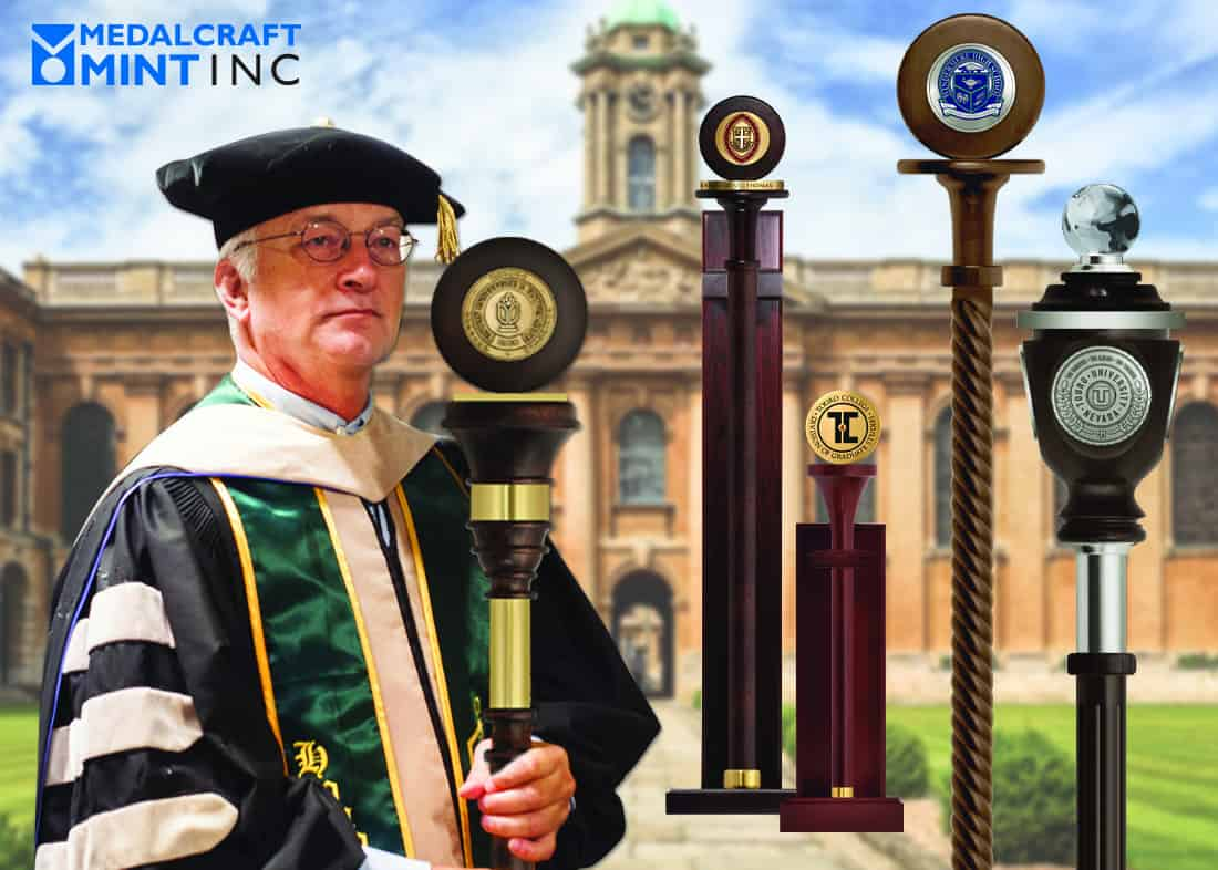 Medallions elevate the look of your collegiate mace