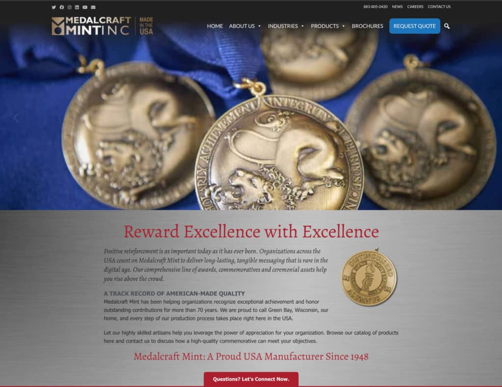Medalcraft Mint new website launch 7-2020