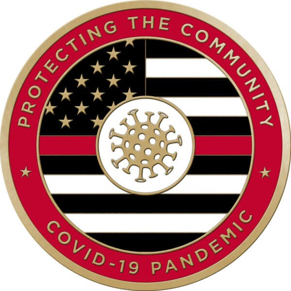 Protecting the Community Challenge Coins – With Enamel –Fire