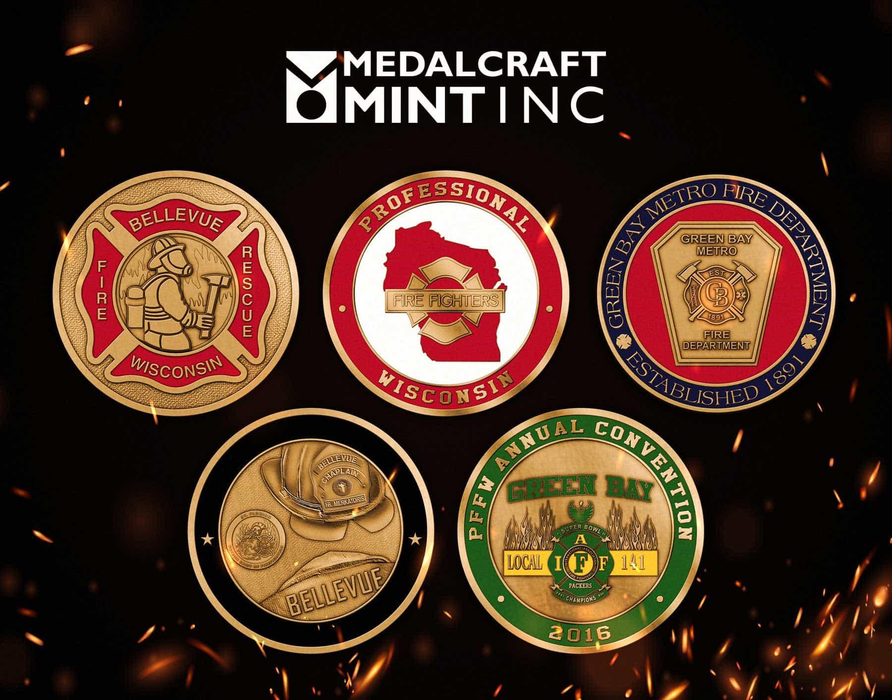 Medalcraft Mint Firefighter challenge coins